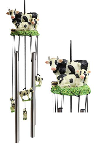 Ebros Gift Bovine Holstein Cow and Baby Calf Family Resonant Relaxing Aluminum Wind Chime Country Western Rustic Farm Cows Garden Patio Outdoor Decorative Accent Noisemaker