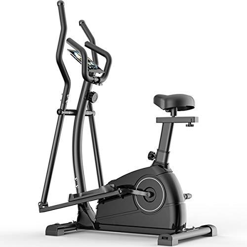 YIZHIYA Elípticas de Fitness, Resistencia magnética Ajustable de 8 Niveles 3 en 1 Máquina de Entrenamiento elíptico con Asiento,Gimnasio pequeño portátil Ultra silencioso Equipo de Fitness,Negro