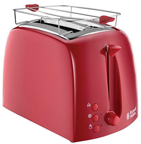 Russell Hobbs Toaster Textures rot, 2 extra breite Toastschlitze, inkl. Brötchenaufsatz, 6 einstellbare Bräunungsstufe + Auftau- & Aufwärmfunktion, 850W, 21642-56