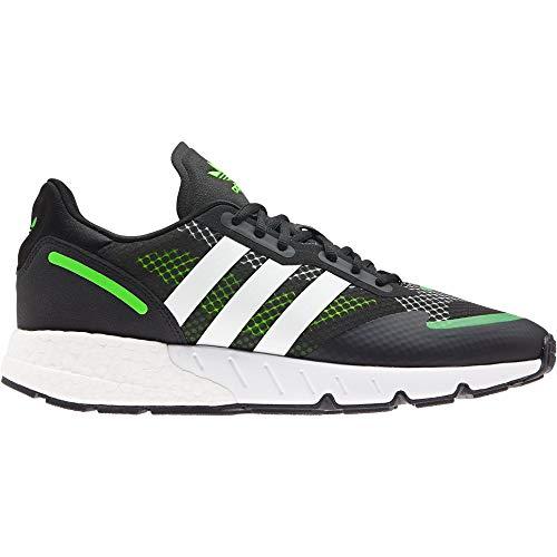 adidas ZX 1k Boost, Zapatillas Deportivas Hombre, Core Black FTWR White Solar Green, 41 1/3 EU
