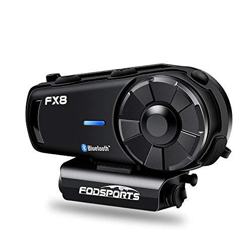 FODSPORTS FX8 Intercom Motorrad Mit 30% Iger Antennensignalverbesserung, FM, Professioneller CVC-Rauschunterdrückung, HiFi-Klangqualität, 900 mAh, 8-Wege-Gegensprechanlage Motorrad Headset Bluetooth