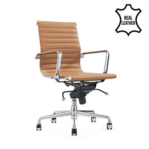 Vivol Design Schreibtisch Stuhl - Valencia Cognac - Bürostuhl Ergonomisch Leder Bürostuhl 150 kg - Drehstuhl mit Rollen & Armlehnen - Buro Stuhle Cognac
