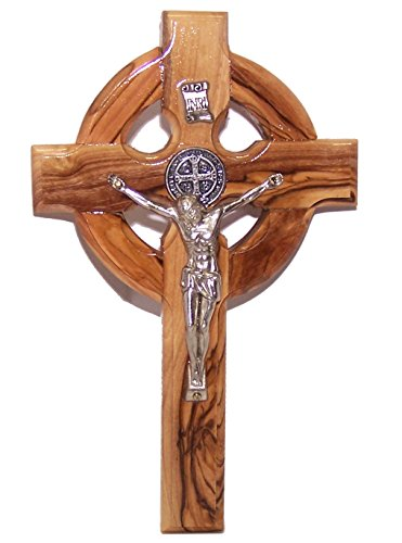 Celtic and Saint Benedict Medal Holy Land Handmade Wall Wood Cross Crucifix 6'