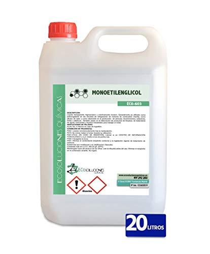 Ecosoluciones Químicas ECO-603 | 20 litros | Etilenglicol Máxima Pureza. Superior al 99,6%. Anticongelante Puro