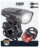 AARON LED Fahrradlicht Set mit starkem Akku, USB & StVZO Zulassung - Fahrradlampe mit starker Leuchtkraft (bis 6,5 Stunden) - Fahrradbeleuchtung Set aufladbar - Fahrrad Licht für vorne & hinten