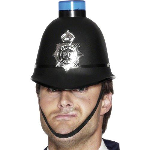 NET TOYS Polizeihelm mit Blaulicht Polizeihut blinkend Polizei Hut Polizisten Mütze Polizeimütze Polizeikappe