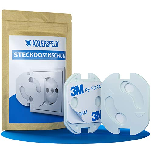 Adlersfeld® - Steckdosen Kindersicherung - [10 Stück] - Steckdosenschutz zum Kleben - Steckdosensicherung für Babys und Kleinkinder