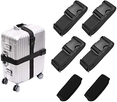 Luggage Straps Suitcase Strap Bag Straps Suitcase Belt 4 PCS, Suitcase Handle Wrap Grip Tags 2 PCS, Black