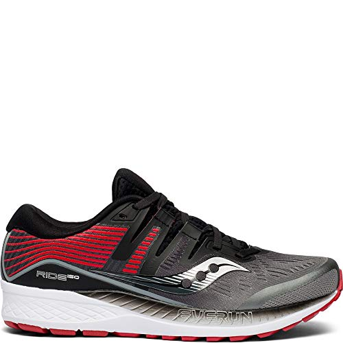 Saucony Men's Ride ISO Running Shoe, Grey/Black, 10 M US