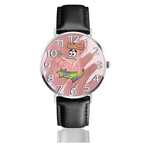 Patrick Reloj analógico de cuarzo con correa de cuero de 38 mm