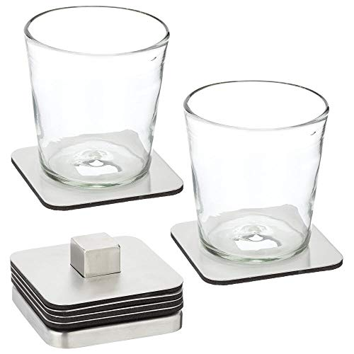 mDesign Juego de 6 posavasos portátiles con soporte – Posavasos originales y modernos de acero inoxidable para la cocina y la sala de estar – Accesorios para mesa auxiliar y bar – plateado mate