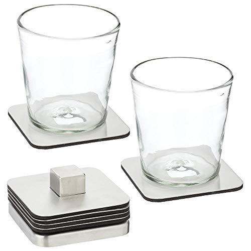 mDesign Set da 6 portabicchieri impilabile – Moderno sotto tazza in acciaio per cucina o soggiorno – Sottobicchiere trasportabile per bar, tavolo o mobiletto – argento opaco