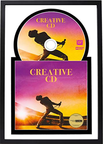 """Creative Picture Frames 8"""" x 12"""" CD Jukebox Music Frame Double White-Black Matting Displays Cover Art and 4 7/8-inch Dia. Disc Self Standing with Wall Hanger"""