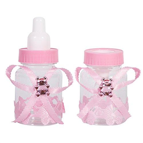 Botella de Caramelo, 2 Colores 50 Piezas Caja de Botellas de Chocolate y Caramelo para Baby Shower Favores de Fiesta Regalos Decoraciones(Rosado)