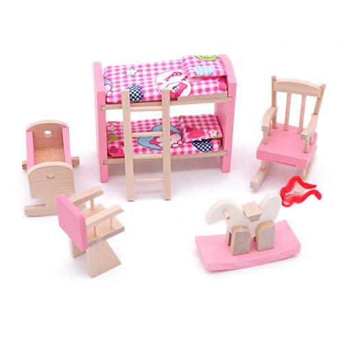 POFET Adorabile Set di camerette in Legno per mobili per Bambole Giocattolo Set di Room per Bambole in Legno per Bambole Giocattolo