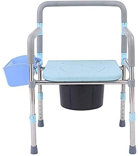 MLAD Mietklo Edelstahl Multifunktionsstuhl, Faltbarer höhenverstellbar älteres Badezimmer Stuhl, Toilettenstuhl Schwangere Mit Speicher-Korb 94