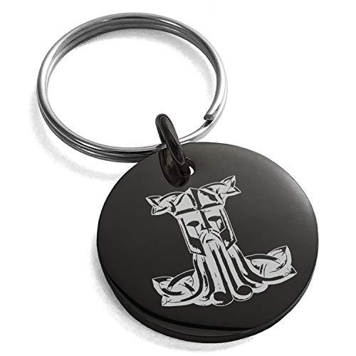 Black Stainless Steel Thor's Hammer Mjolnir Celtic Viking Rune Symbol Small Medallion Circle Charm Keychain Keyring