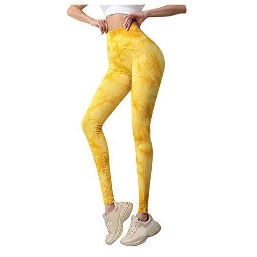 Xiantime Leggins Cortos Deportivos Mujer sin Bolsillo,Pantalones de Cadera con Efecto Tie-Dye para Damas Pantalón Cropped de Secado Rápido Leggins de Yoga Elásticos de Cintura Alta Leggings for Women