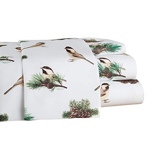 Collections Etc Cozy Winter Chickadees Bed Sheet Set with Pinecone Accents, 4 Pc, Floral, Full