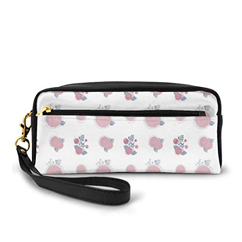 Pencil Case Pen Bag Pouch Stationary,Abstract Simple Floral Pattern Repetition of Petal and Leaves,Small Makeup Bag Coin Purse