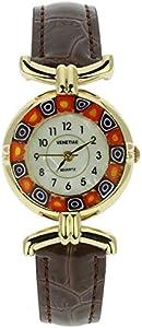 GlassOfVenice Reloj Millefiori de cristal de Murano con correa de cuero - marrón