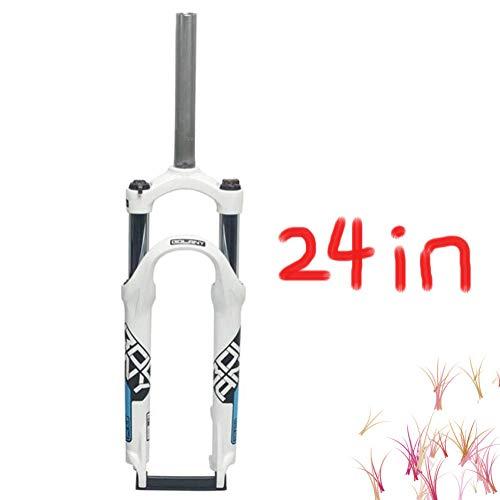 MIYUEZ 24 Pulgadas Suspensión Horquilla Suspensión Delantera 1-1/8 '' Aleación Ligera De Magnesio Tubo Recto MTB Horquilla De Gas Bicicleta De Control De Hombro Horquillas Delanteras 100 Mm,White