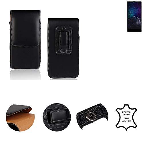 K-S-Trade® Holster Gürtel Tasche Für M-Horse Pure 2 Handy Hülle Leder Schwarz, 1x