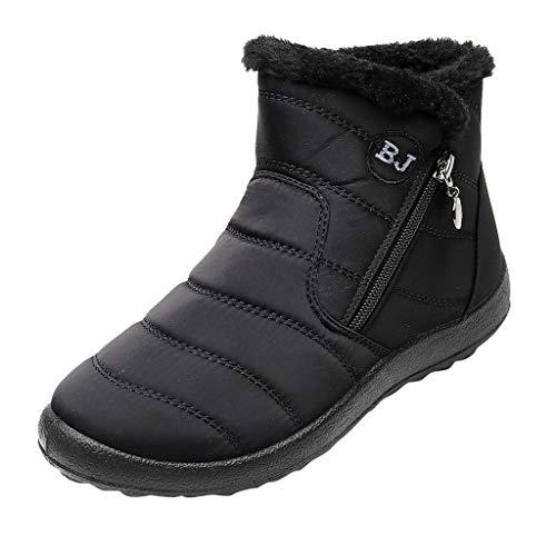 HDUFGJ Damen Schneeschuhe Plus Samt Warm halten rutschfeste Wasserdicht Outdoor-Schuhe für Sport Hiking Trekking-& Wanderhalbschuhe Verschleißfest Freizeitschuhe Laufschuhe Bequem39 EU(Schwarz)