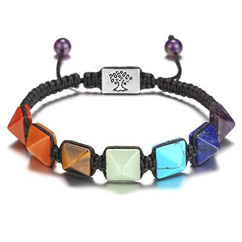 CrystalTears 7 Chakra Armband Pyramide Perlen Yoga Steinarmband Verstellbar Geflochtene Healing Reiki Energetherapie Armreif mit Lebensbaum Bead
