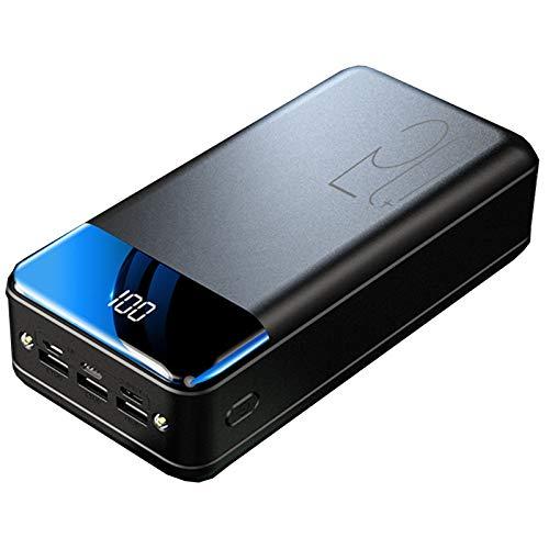 Power Bank Batería Externa Cargador Móvil Portátil 50000Mah Ultra Alta Capacidad con 3 Salidas Y 3 Entradas Y Linterna, USB C De Carga Rápida Powerbank para iPhone, Samsung Etc,Negro