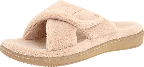 Vionic Women's Indulge Relax Slipper - Ladies Comfortable Cozy Adjustable House Slippers with Concealed Orthotic Arch Support Tan 9 Medium US