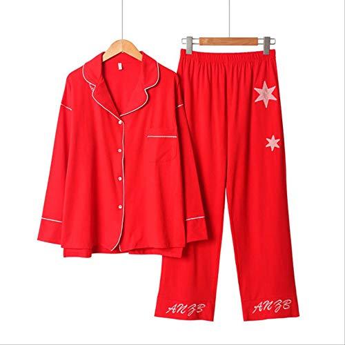 XFLOWR Lente & Herfst Versie Vrouwen Losse pyjama Set Dames Lange Mouw Katoen Cardigan+broek Eenvoudige Stijl Effen Huiskleding