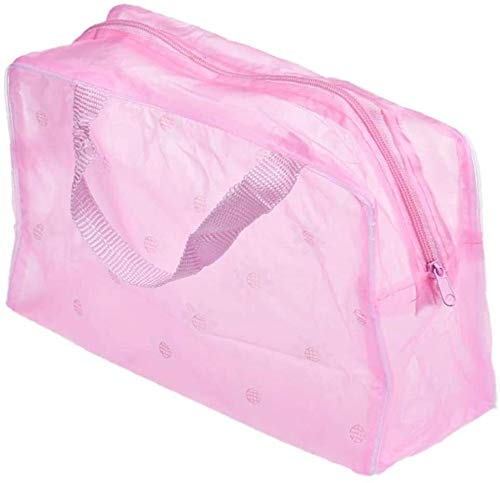 Kinhevao 1pc Sac étanche Translucide cosmétiques Bain Sac de Rangement de Maquillage Portable Sac PVC Poche Fermeture éclair Sac for Voyage Wash (Rose) (Color : Pink)