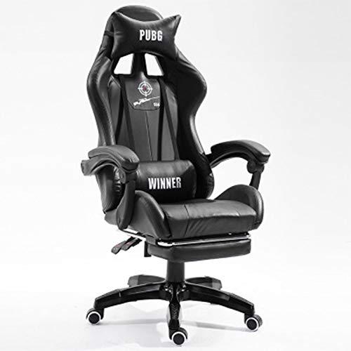 Ergonomische verstelbare draaibare taakstoel, massage gamer stoel met verspreid werveldruk ontwerp, voor thuis slaapkamer kantoor studie,Black,With pedals