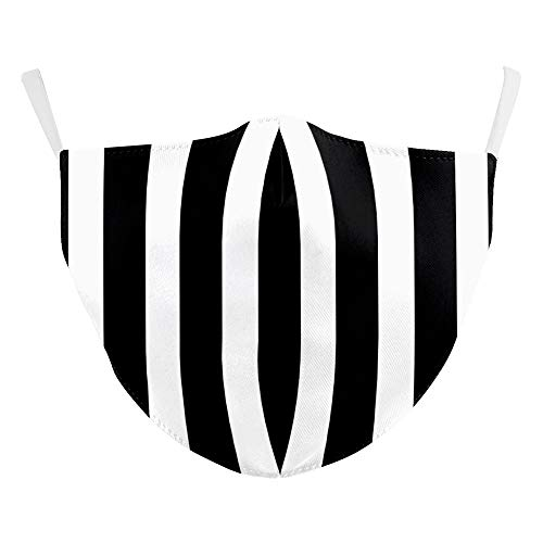 eBoutik - Reusable Face Mask Breathable Face Coverings Sports Designs - Washable, Social Distancing Practices (Black & White Strips)