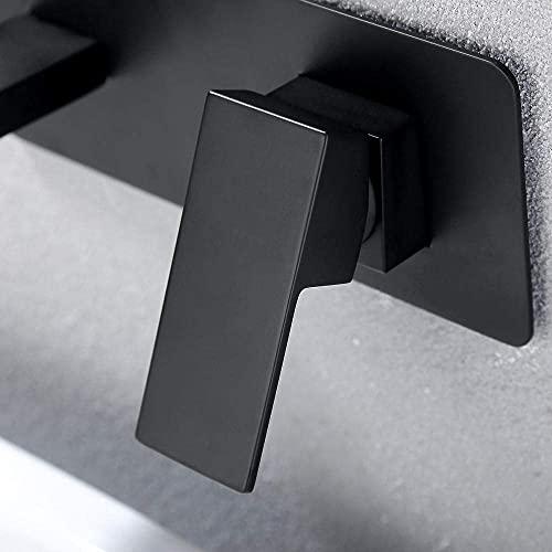 COWINN grifos Baño Grifos Mezclador grifo grifo lavabo fregadero grifos baño cuadrado grueso cobre negro montado en la pared grifo oculto empotrado lavabo grifo hogar lavado lavabo