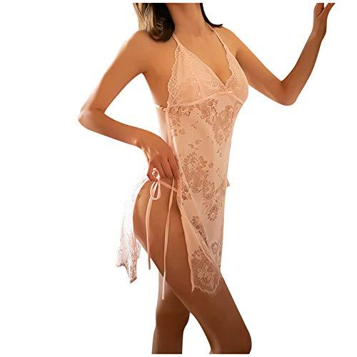 HCOO Nachthemd Pyjama Negligee Dessous Nachtwäsche Lingerie Damen Ice Silk Wasserlösliche Blumenstickerei Sexy Lace Perspective Sling Nightdress Nightgown