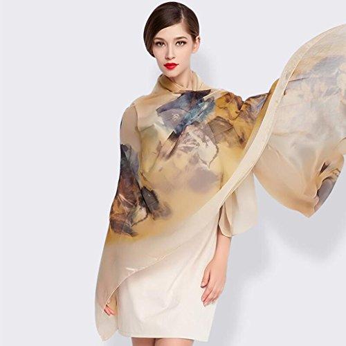 YQQ Foulards Femme Peinture À L'encre Impression 100% Soie Printemps Et Été Automne Et Hiver Châle 140 * 184cm