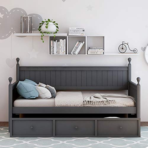 Solid Wood Twin Bed with Storage Daybed with Three Drawers Storage Twin Size Daybed Gray Finish No Box Spring Needed (Gray)