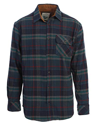 Gioberti Men's 100% Cotton Brushed Flannel Plaid Checkered Shirt with Corduroy Contrast, Dark Green/Red Highlight, Large