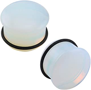 Single Flare Clear Opalite Moonstone Ear Plugs and Tunnels with O-Ring Stretcher Expander Pair