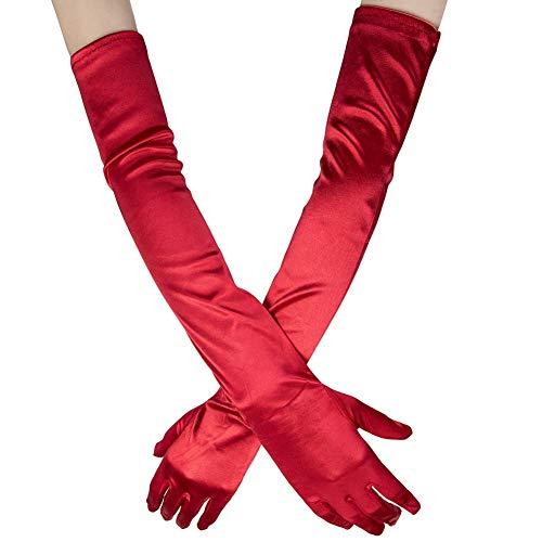 Ksnnrsng Damen Lange Raso Handschuhe Satin Classic Opera Fest Party Hochzeit Braut Handschuhe 1920er Stil Handschuhe Elastisch Erwachsene Größe bis Handgelenk Länge (52cm-rot)