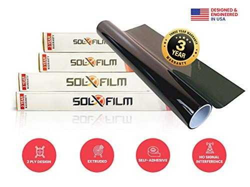Diablo SOL X - 2 Ply Window Tint Professional Dark Charcoal 20% Tint Roll Self Adhesive Tint Film Roll for Car Windows - 36 in. x 100 ft.