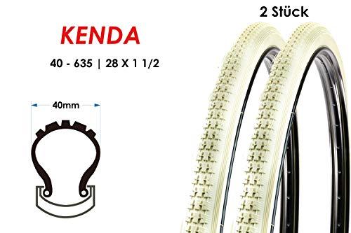 2 Stück 28 Zoll Kenda 40-635 Fahrrad Holland City Reifen 28x1 1/2 Mantel Tire Creme