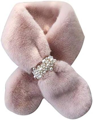 Spirgo Ultra Soft Scarfs for women Tefiti Collar Scarves Faux Rabbit Fur Shawl Cozy Knit Shrug product image