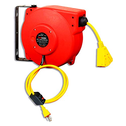 Reelworks Extension Cord Reel Retractable Polypropylene Heavy Duty Industrial 40 FT 14AWG 3C SJT Commercial Premium Grade Ultra Flexible Cable (S3) Triple Tap Connector P...