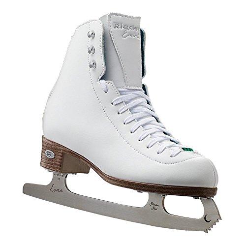 Riedell Schlittschuhe - 119 Emerald - Damen Freizeit Eislaufschuhe mit Stahl Luna Blade | Weiß | Größe 37 1/2 breit