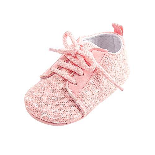 Morbuy Leinen Baby Schuhe Mädchen und Jungen Kleinkind Babyschuhe Neugeborene Anti-Rutsch Weiche Alleinige Krabbelschuhe Wanderer Weiche Alleinige Schuhe (13cm / 12-18 Monat, Rosa)