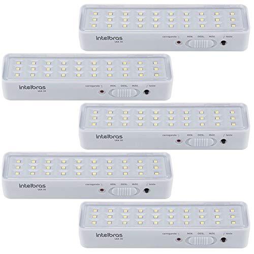 Kit Com 5 Luminárias Iluminação Luz de Emergência 100 Lúmens INTELBRAS LEA 30 Branca Bivolt