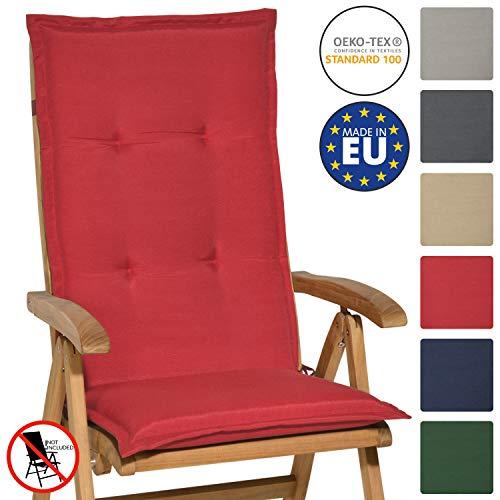 Beautissu Hochlehner Auflage Loft HL 120x50x6cm Sitzkissen Rückenkissen Hoch Stuhlkissen mit Schaumkern-Füllung Rot mit Oeko-Tex in diversen Farben